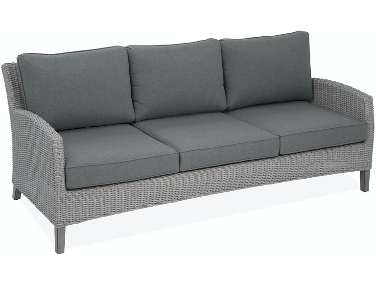 Villa Salvaged Oak Aluminum and Outdoor Wicker Cushion Sofa