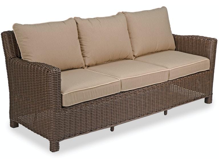 Panama Pecan Aluminum And Resin Wicker Cushion Sofa