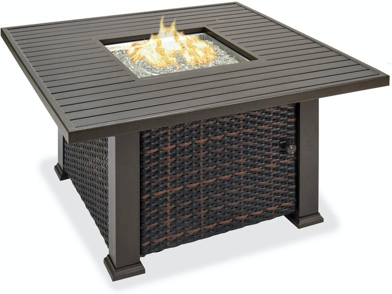 Super Tangiers 42 In Tobacco Aluminum Resin Wicker Lp Fire Pit Coffee Table Unemploymentrelief Wooden Chair Designs For Living Room Unemploymentrelieforg