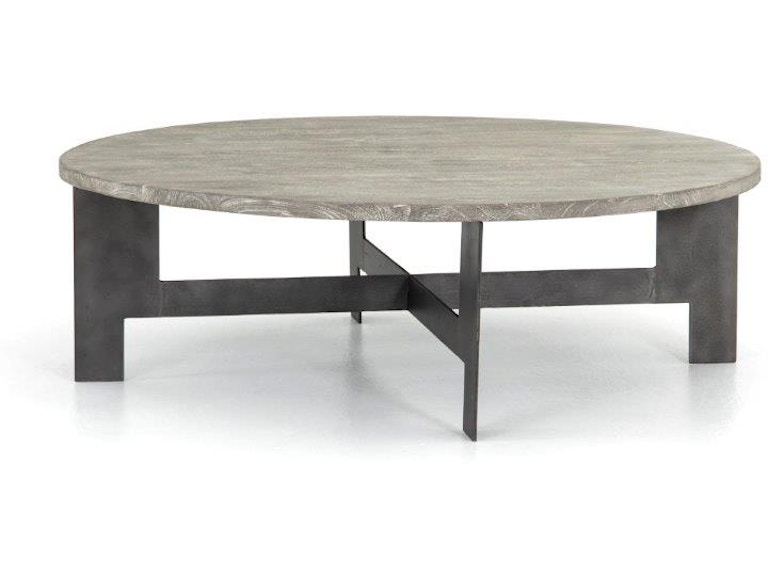 Four Hands Round Coffee Table With Iron Isd 0173 Seldens Designer Home Furnishings Tacoma Wa