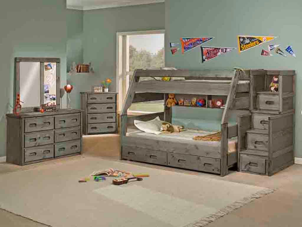 Picture of: Trendwood Bedroom High Sierra Twin Full Bunk Bed In Driftwood Finish High Sierra Dw Furniture