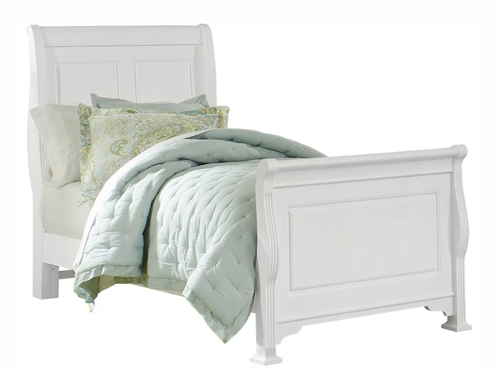 Vaughan Bassett Furniture Company Bedroom Youth Sleigh Bed With Soft White Finish 384 551 Youth Bed