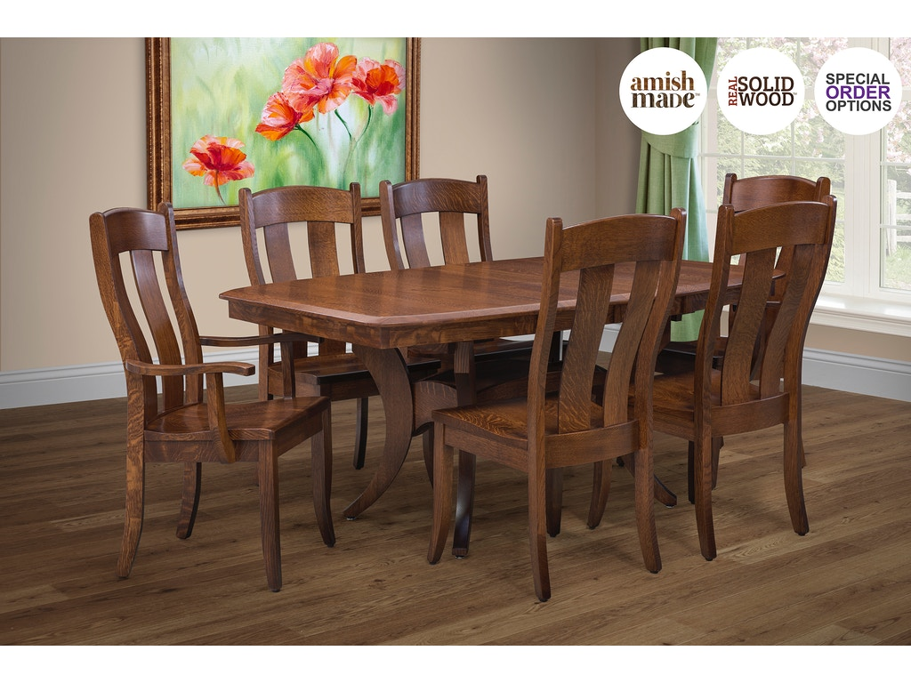 Trailway Amish Dining Room 7 Piece Ohio Amish Made Real Solid Wood Dining Set Fort Knox 8010