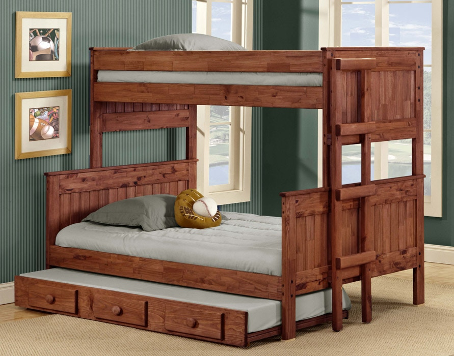 Pine Crafters Youth Bedroom Twin Full Stackable Bunk Bed 4019