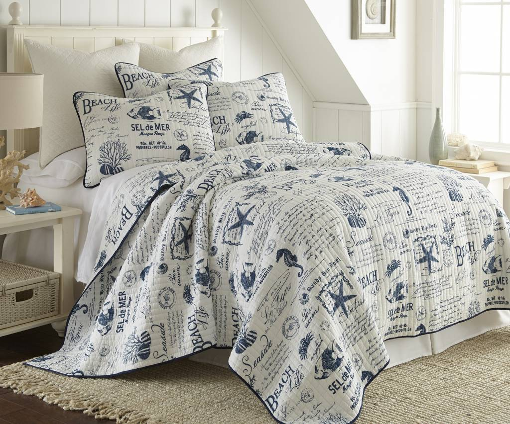 delightful Levtex Home Quilt Set Part - 17: Levtex Home Queen Comforter Set BEACHLIFENAVYQN