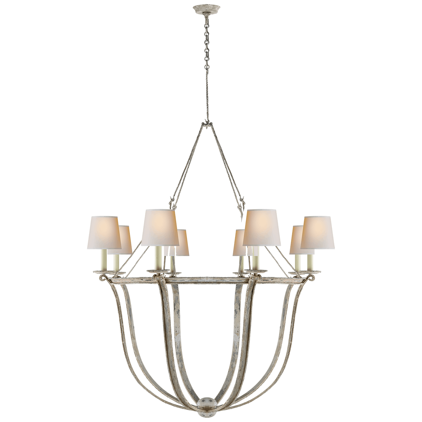 Visual comfort chc 1577ow np lancaster chandelier in old white with natural paper shades
