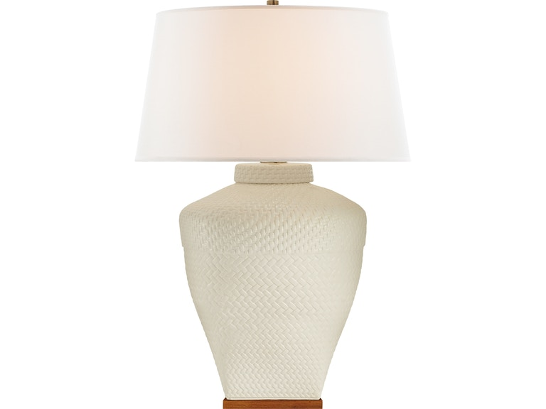 97012c56cb8d Visual Comfort Isla Large Table Lamp in White Leather Ceramic with Linen  Shade RL 3623WLC-