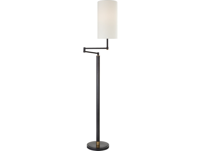 Anton Large Swing Arm Floor Lamp In Bronze And Hand Rubbed Antique Brass With Linen Shade