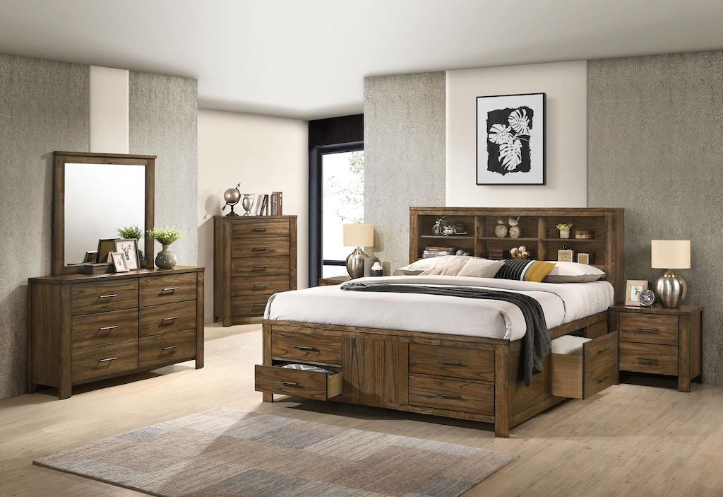 Antique Oak Queen Bookcase Storage Bed, Dresser, Mirror and Nightstand
