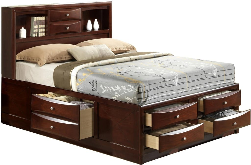 Picture of: Shop Our Emily Queen 7 Drawer Bookcase Storage Bed By Elements International Em200qbed Joe
