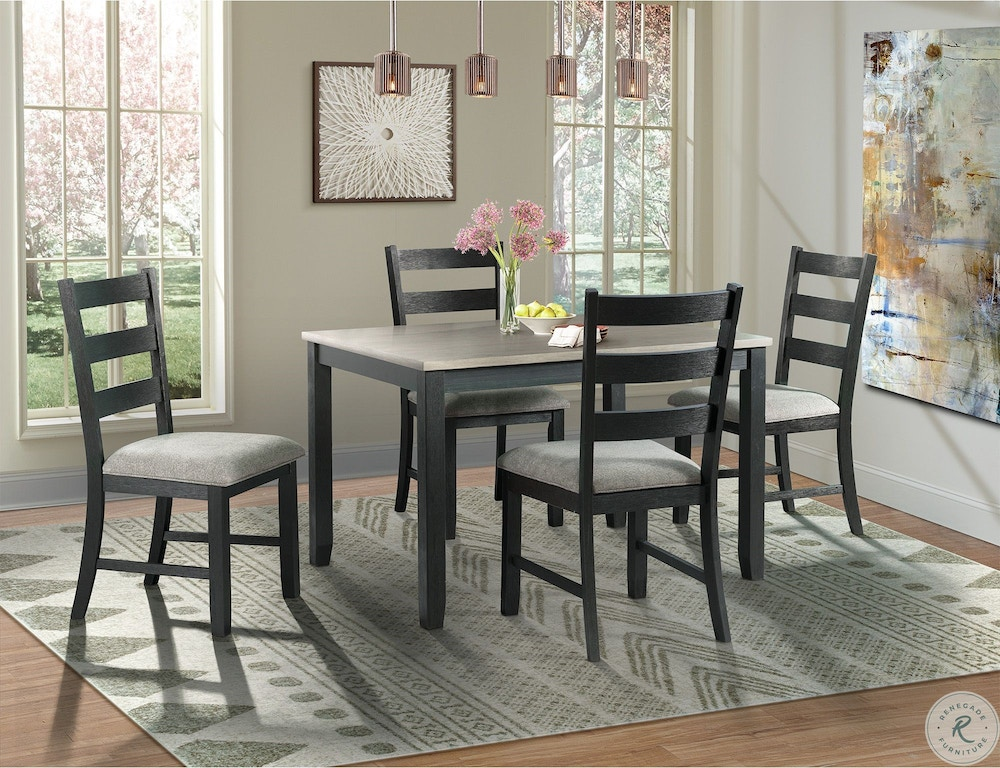 Shop Our Martin Black Gray Table And 4 Chairs By Elements International Dmt3005ds Joe Tahan S