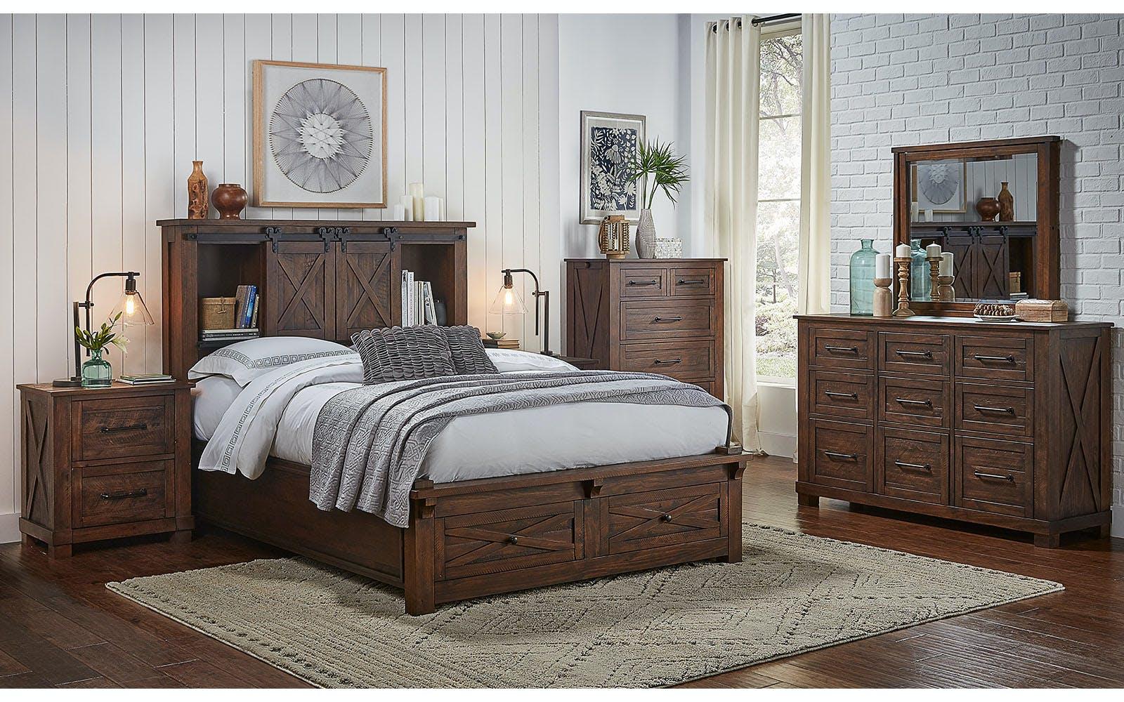 Shop Our Sun Valley Rustic Solid Pine Storage Headboard W 2 Drawer Storage Footboard Dresser