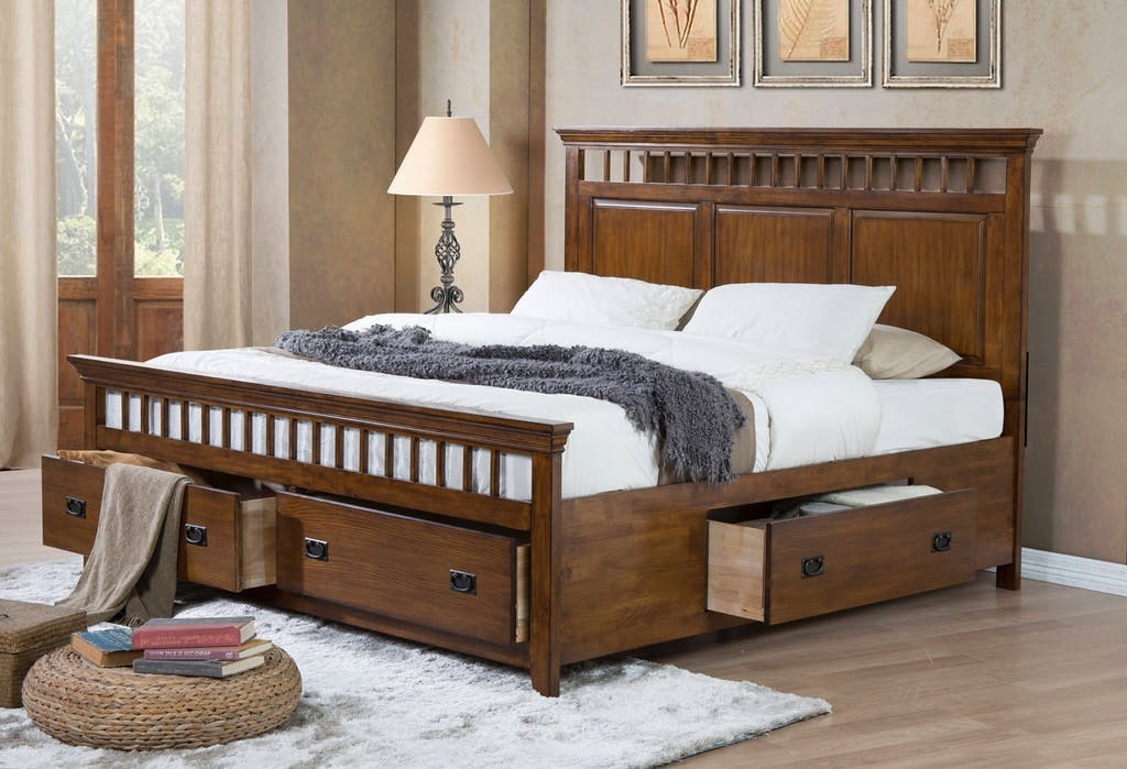 Image of: Shop Our Trudy Mission Oak King Storage Bed By Elements International Tr750kstorbed Joe Tahan S