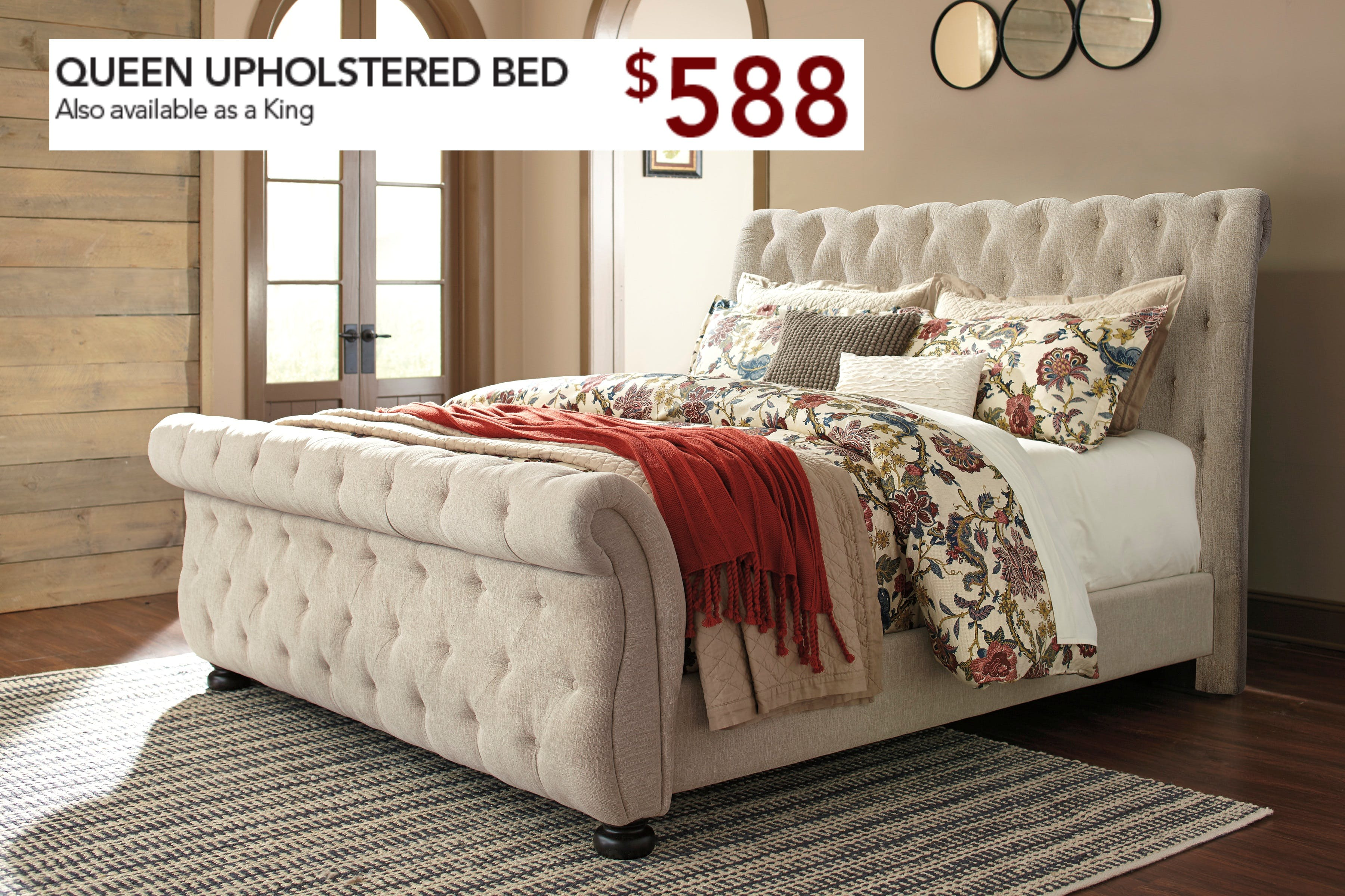 Signature Design By Ashley Bedroom Queen Upholstered Headboard Footboard And Side Rails Pk B643 Qn