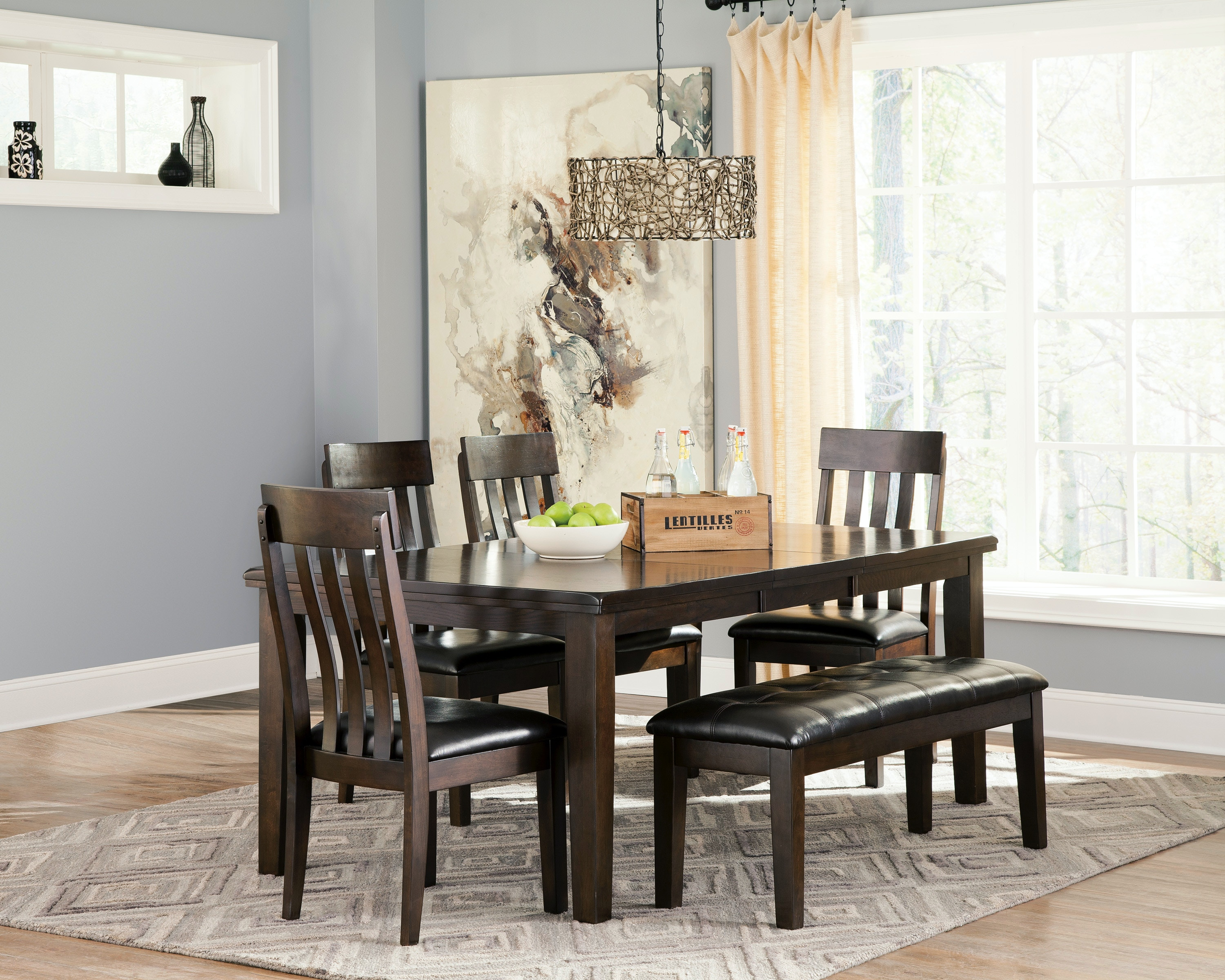 Ashley Dining Table, Upholstered Bench And 4 Side Chairs PK D596 6PC