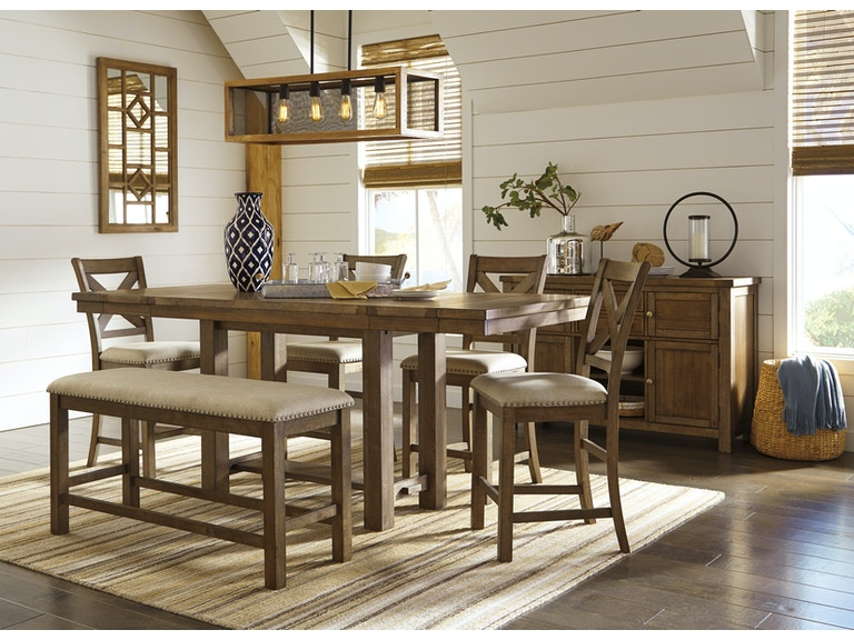 Signature Design by Ashley Dining Room 6 Piece Pub Style Dining Set ...