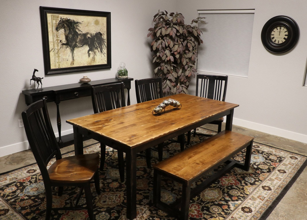 Canadel 4 Chairs, Bench And Table Three Rivers Dining Set