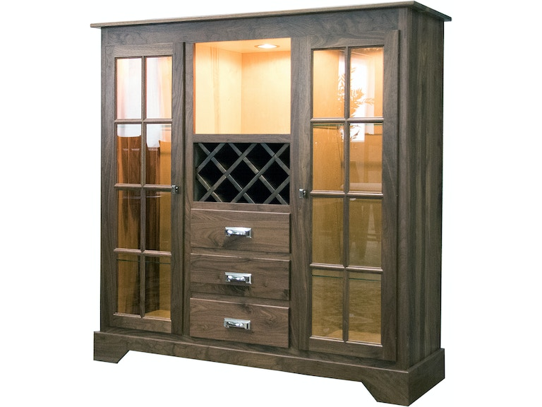 Palettes By Winesburg Solid Natural Walnut Dining Cabinet Harper Hutch
