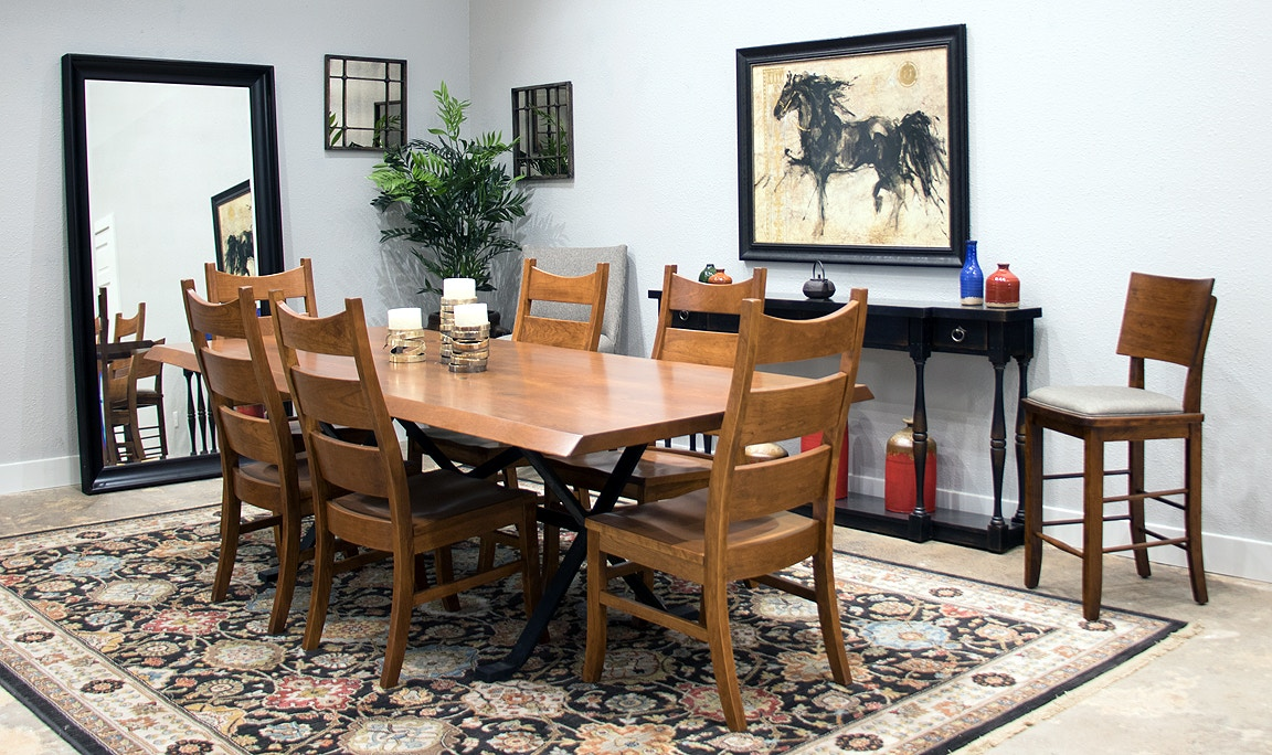 Palettes By Winesburg Solid Cherry Live Edge Table And 6 Chairs Rochester Table  Set