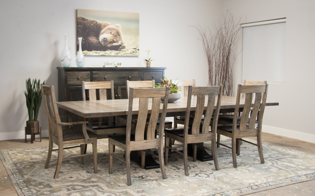 Palettes By Winesburg Wormy Maple 48 X 72 Table With 8 Chairs Alexander Dining Set