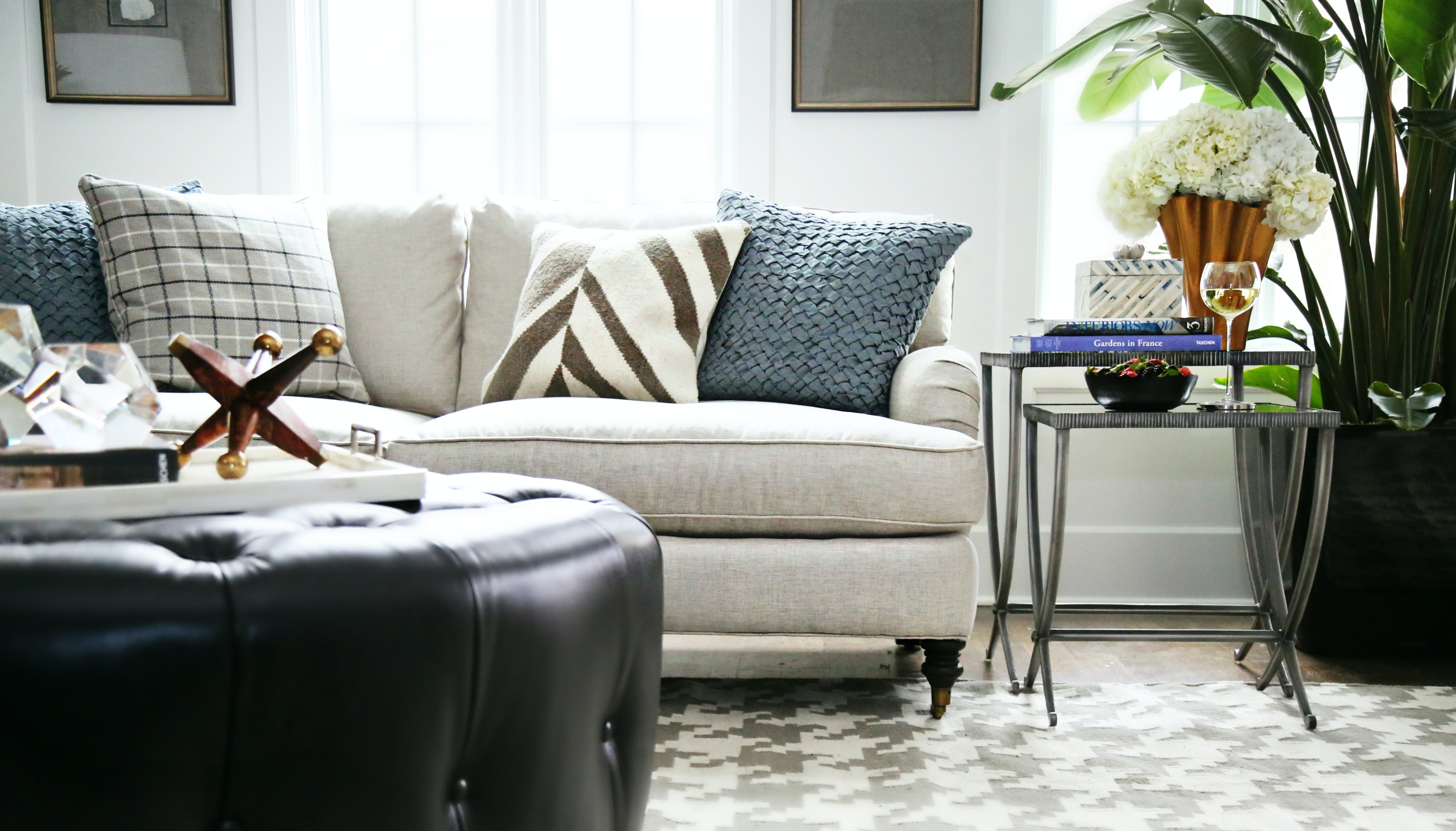 featured product hutton round leather ottoman arbib841 from walter e smithe furniture design