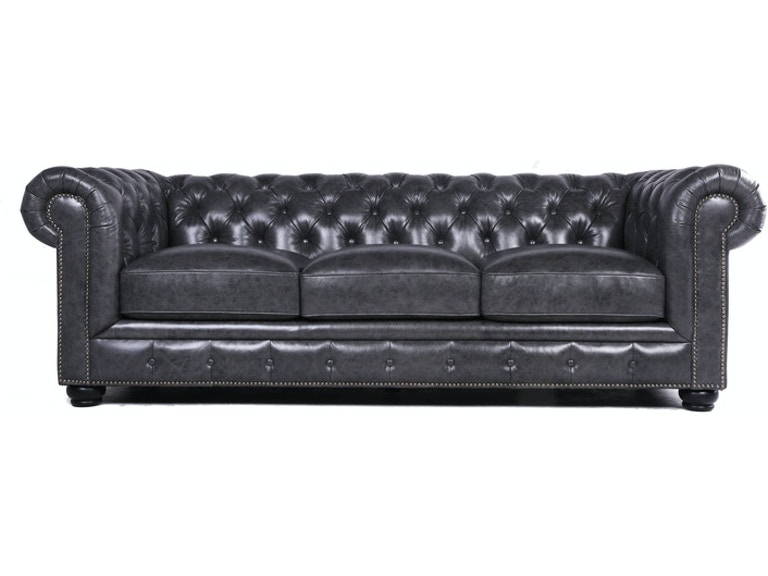 CARLTON LEATHER CHESTERFIELD SOFA