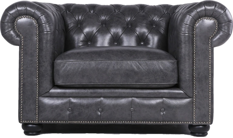 Carlton Leather Chesterfield Chair Grey