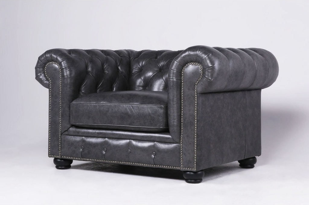 Fabulous Carlton Leather Chesterfield Chair Grey Bralicious Painted Fabric Chair Ideas Braliciousco