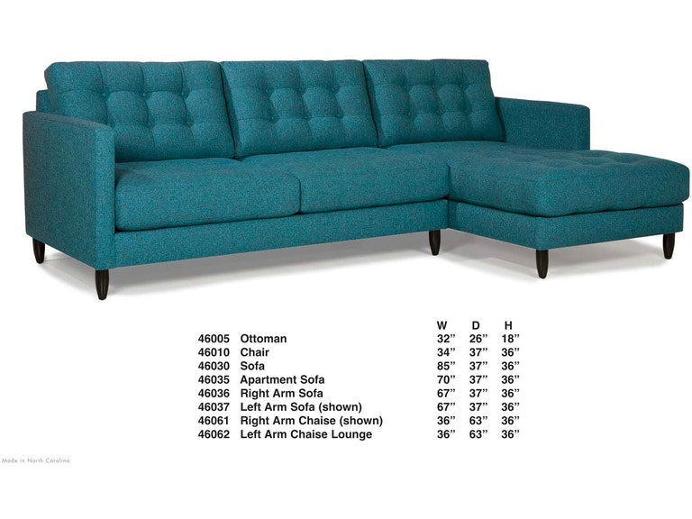 Wes James Left Arm Sofa 46037 From Walter E Smithe Furniture Design
