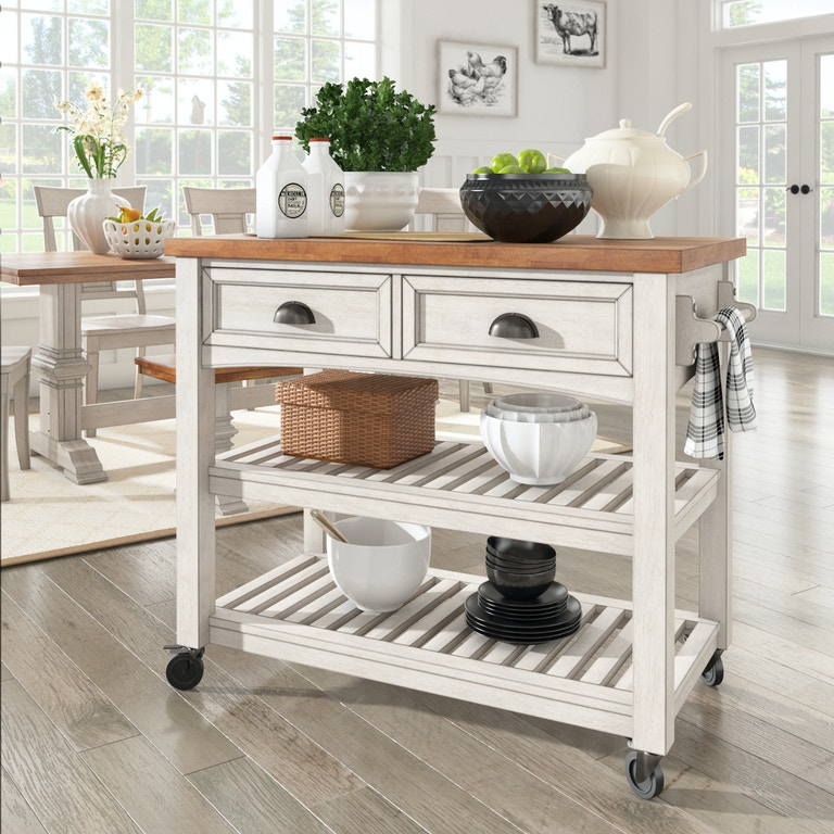 Deaborn Open Shelf Kitchen Cart Antique White Oak Finish