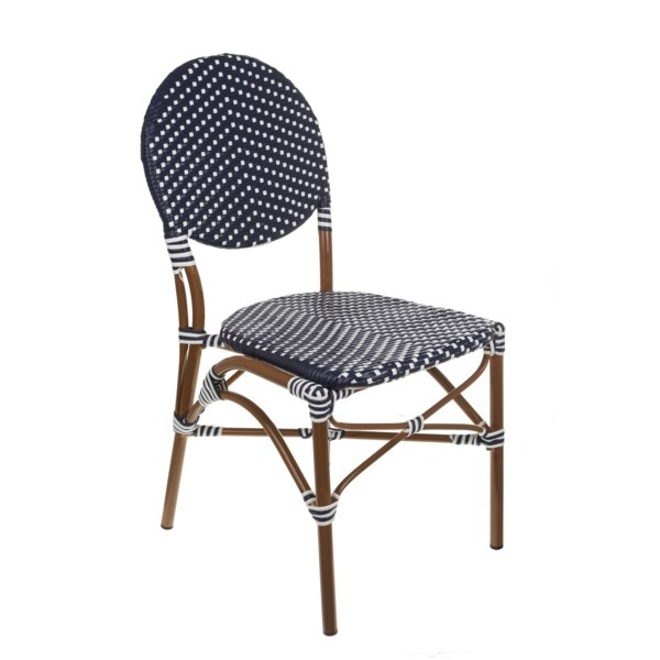 Beau Repas NAVY/WHITE CAFE BISTRO CHAIR BRRNWBC From Walter E. Smithe  Furniture +