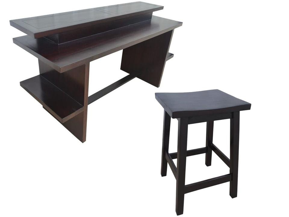 Catania Counter Height Console/Desk With Catania Counter Stools