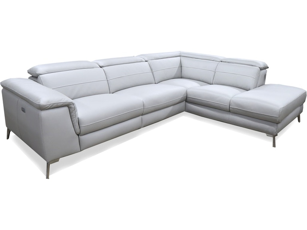 CRUZ 2 PIECE SECTIONAL - LSF 2-SEATER - AND CHAISE - GREY LEATHER