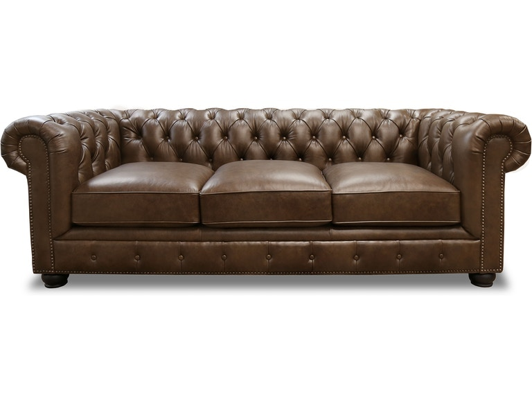- CARLTON BROWN LEATHER CHESTERFIELD SOFA