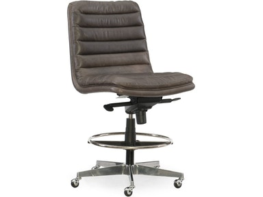 Equinox High Low Grey Leather Desk Chair