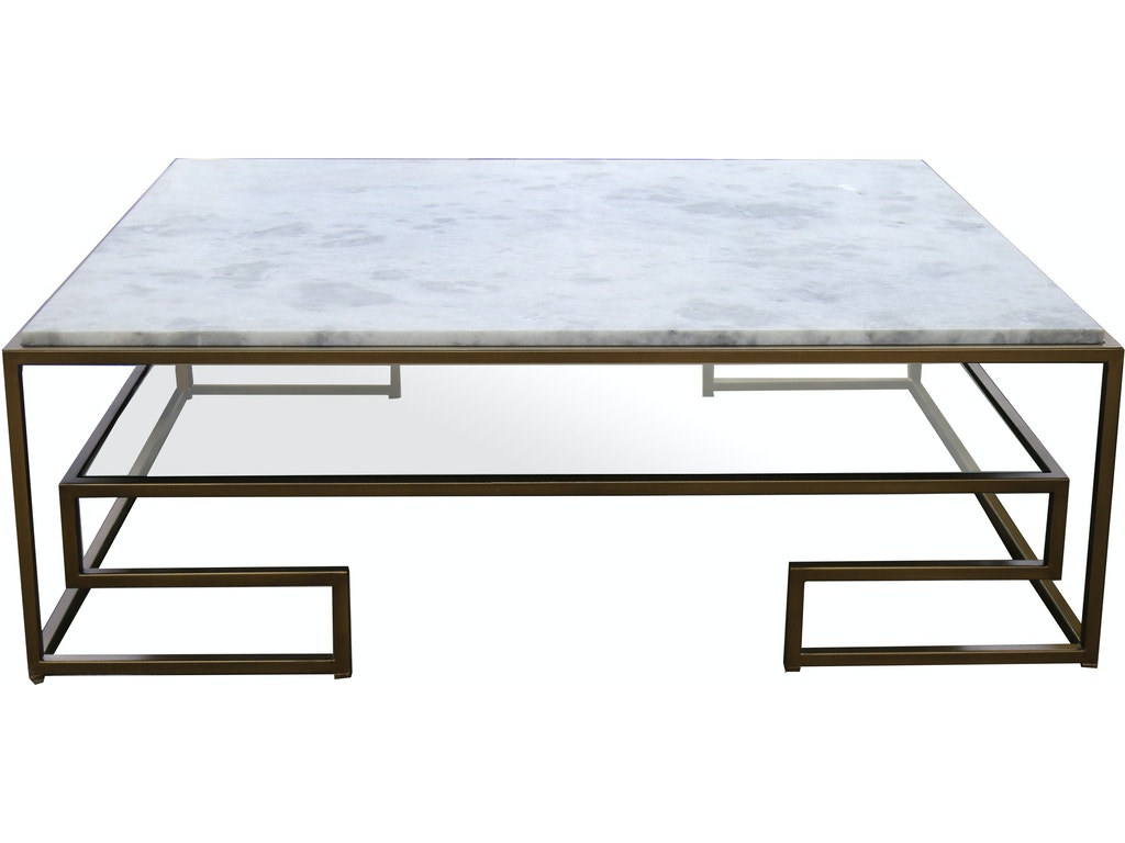 Perimeter Marble And Metal Cocktail Table