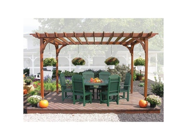 Outdoor Furniture by Amish Oak and Cherry Pergola with 4x6 Oval Table 4087-Pergola