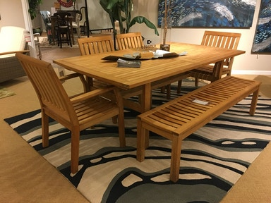 Hickory Park Furniture Outlet Belmont Outdoor Dining Table, Chairs and Bench by Gloster 1830