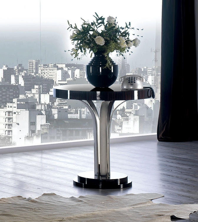 Marvelous David Michael Furniture Pedestal Side Table With Silver Plated Supports  TM 4054