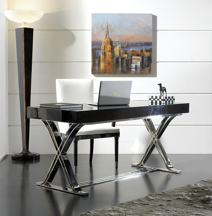 David Michael Furniture Desk With Stainless Steel Base TM 7000