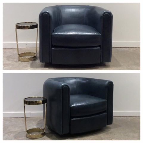 Mitchell Gold + Bob Williams Factory Outlet Alden Full Swivel Leather Chair  In Highland Smoky