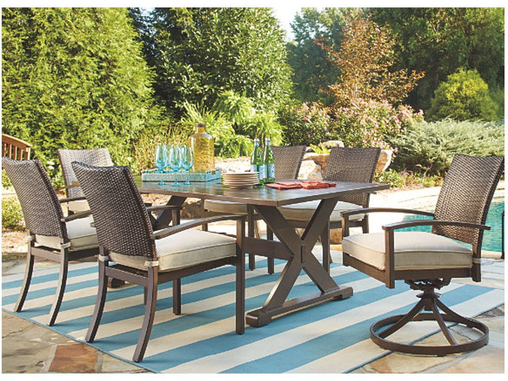 Simply outdoor furniture by lindys outdoorpatio 7 piece outdoor rectangle dining set sku moresdale is available at hickory furniture mart in hickory nc