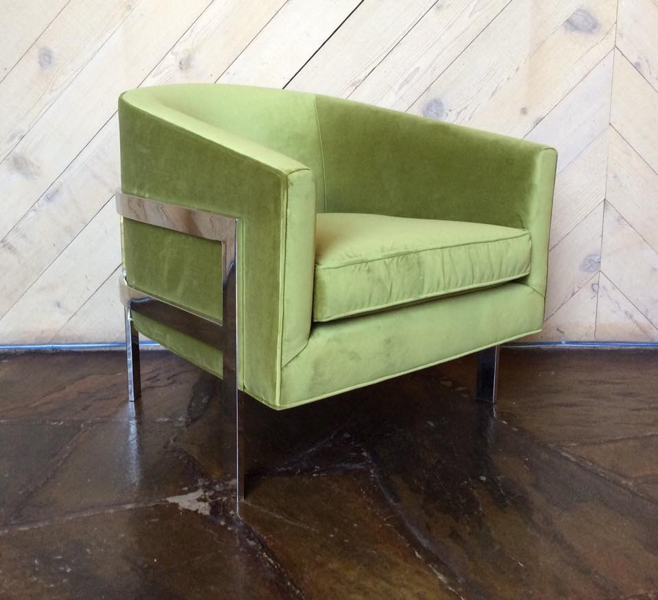 Mitchell Gold + Bob Williams Factory Outlet Avery Chair In Vivid~Lime.  Avery