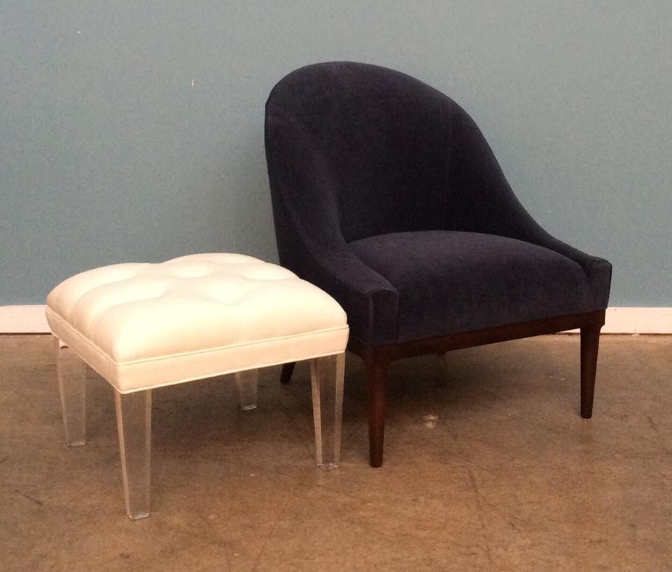 Mitchell Gold + Bob Williams Factory Outlet Bella Chair In COM Blue And  Kira Cube Ottoman