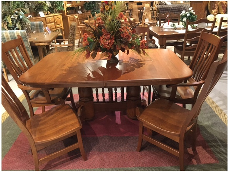 Amish Oak And Cherry 44 X 66 Double Pedestal Dining Table Set Made In USA 191