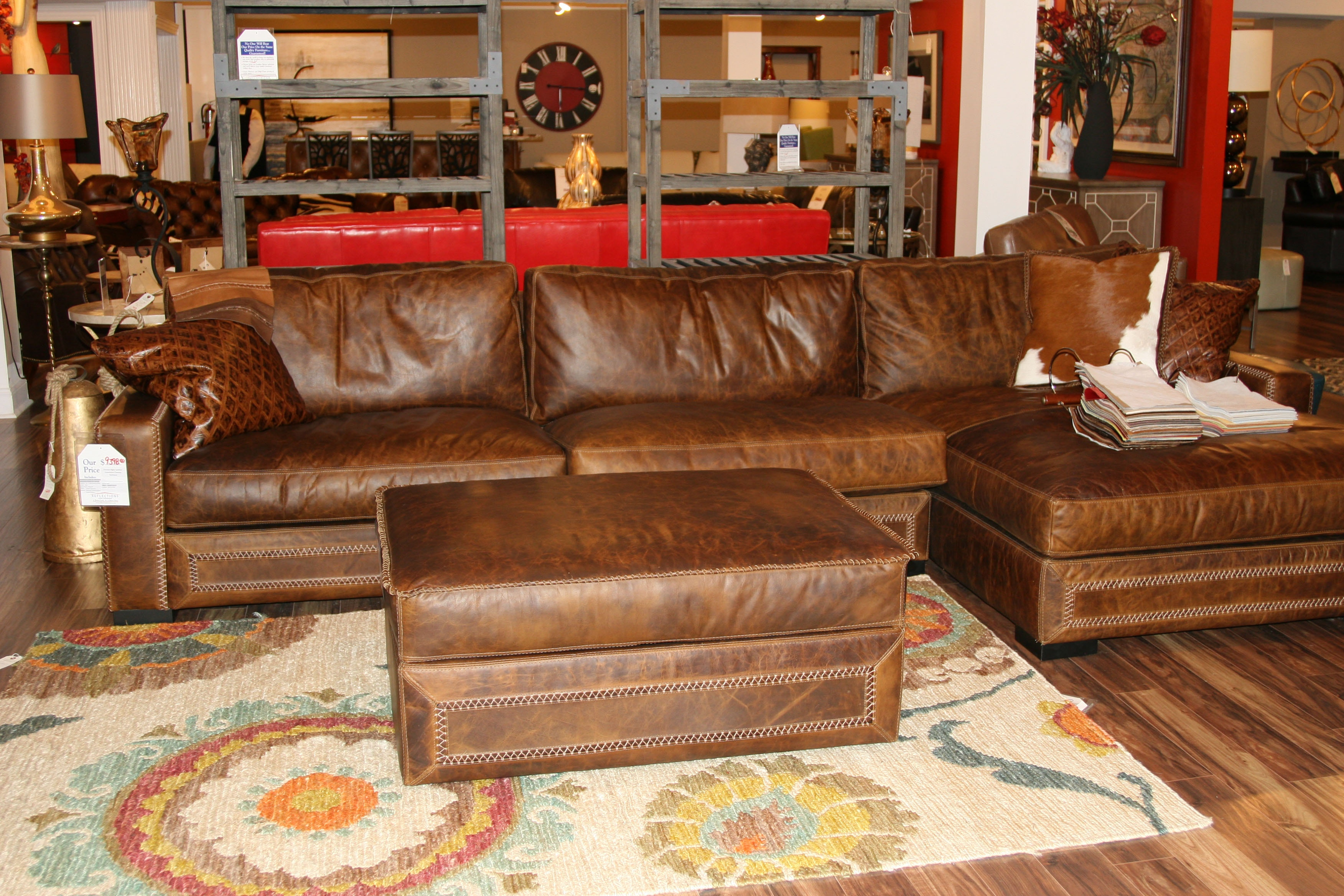 Nice Eleanor Rigby By Reflections Leather Sectional And Storage Ottoman By Eleanor  Rigby Leather Downtown 2