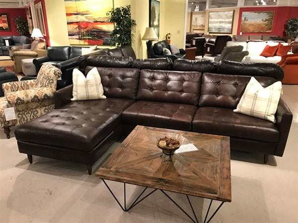Leather And More Sofa With Chaise By Omnia Leather Made In USA Essex Leather