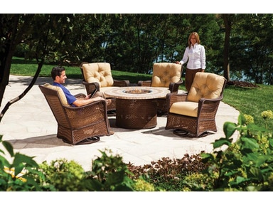 Seasons Outdoor and Sunroom Gallery by Hickory Park Fire Table and Swivel Gliders by Lloyd Flanders Grand Traverse Collection