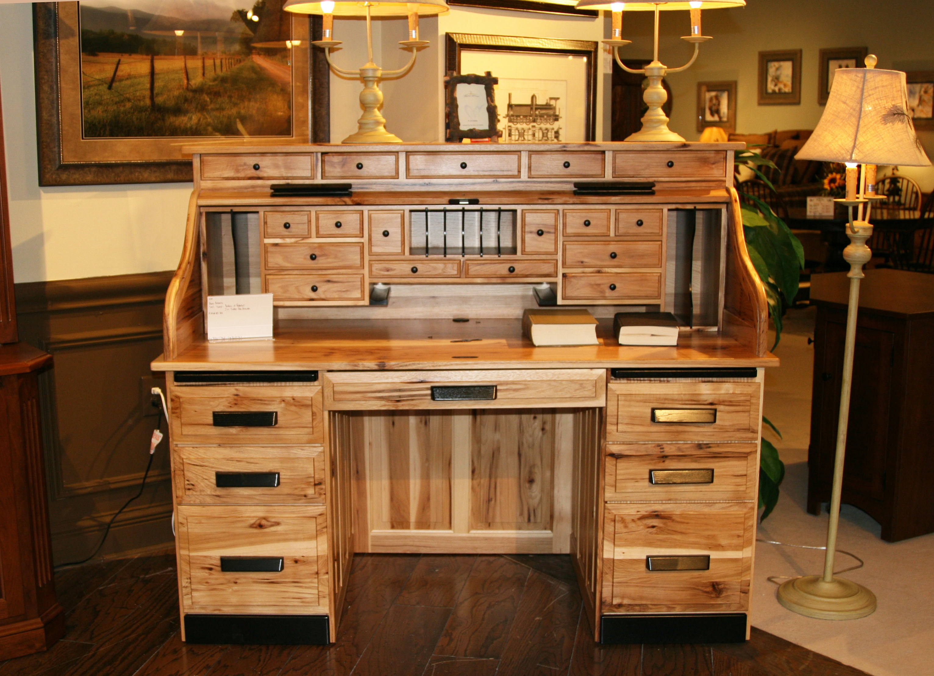 Amish Oak And Cherry American Made Rustic Hickory Roll Top Desk Roll Top  Desk