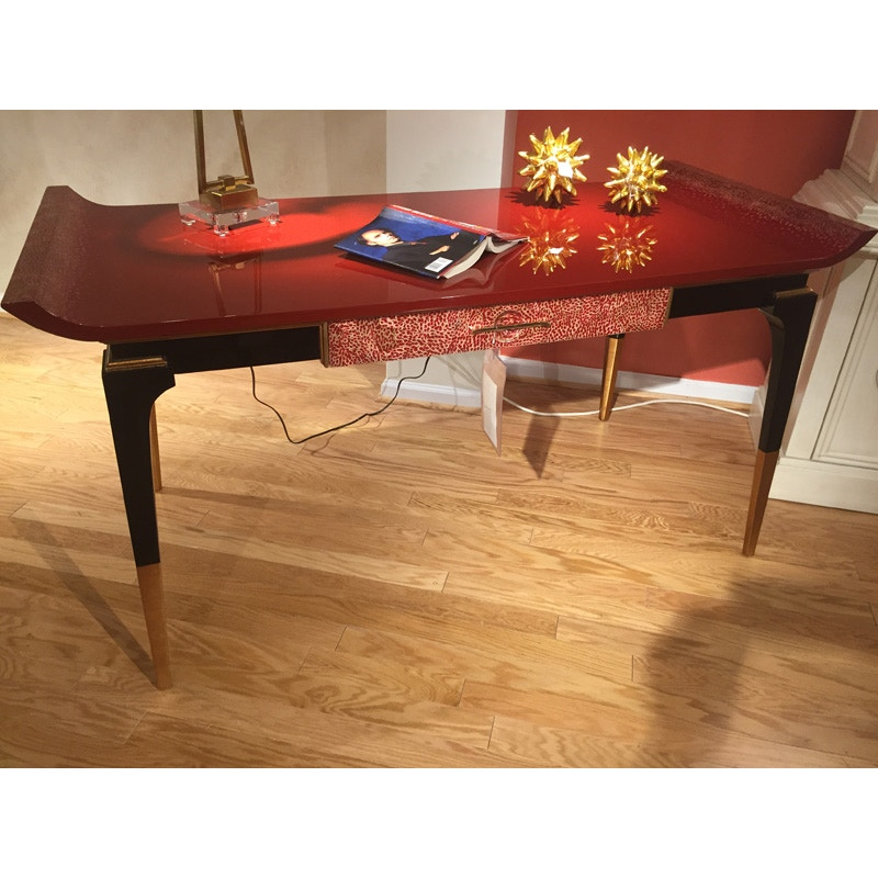 Hickory Park Furniture Outlet Jonathan Charles Modern Indochine Emperor Red  Desk 495579